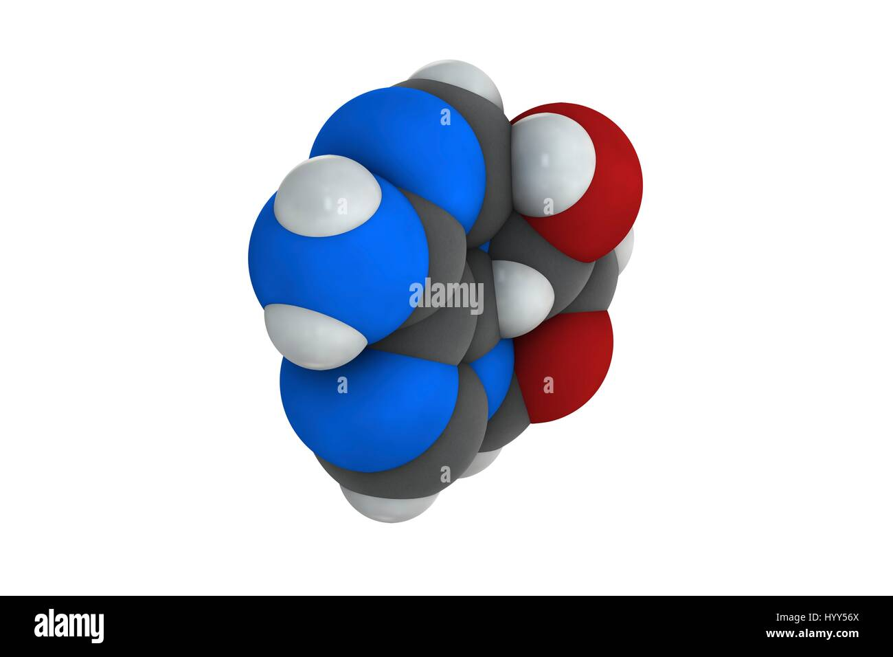 Adenosine (Ado) purine nucleoside molecule. Important component of ATP, ADP, cAMP and RNA. Also used as drug. Chemical Stock Photo