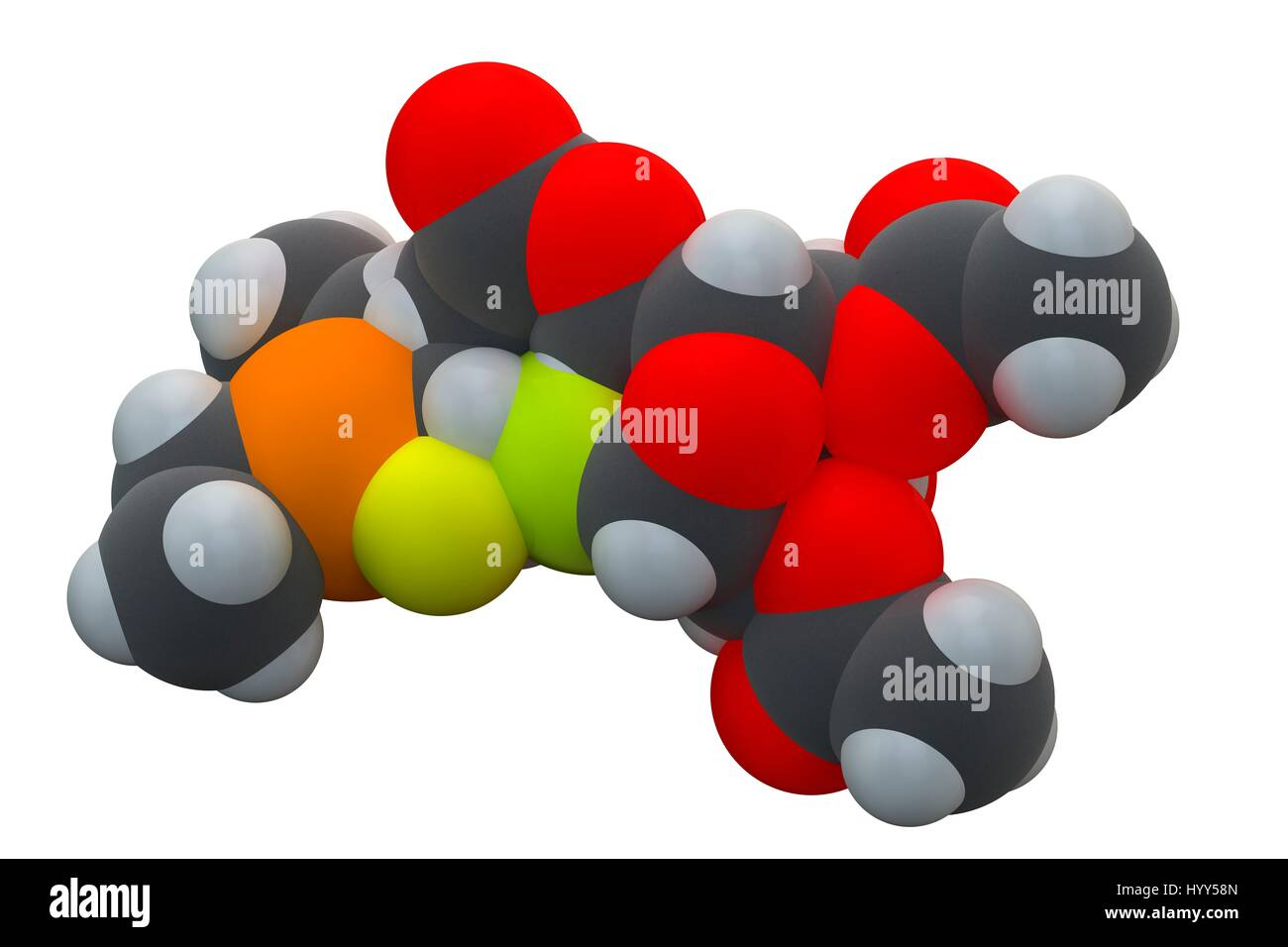 Auranofin drug molecule. Auranofin, marketed under the name Ridaura, is a gold(i) complex classified by the World - Stock Image