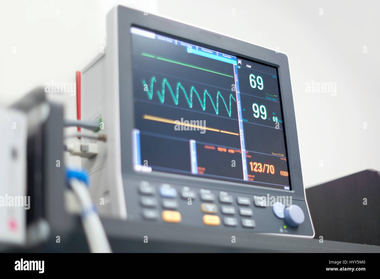 Heart rate monitor digital display. - Stock Image