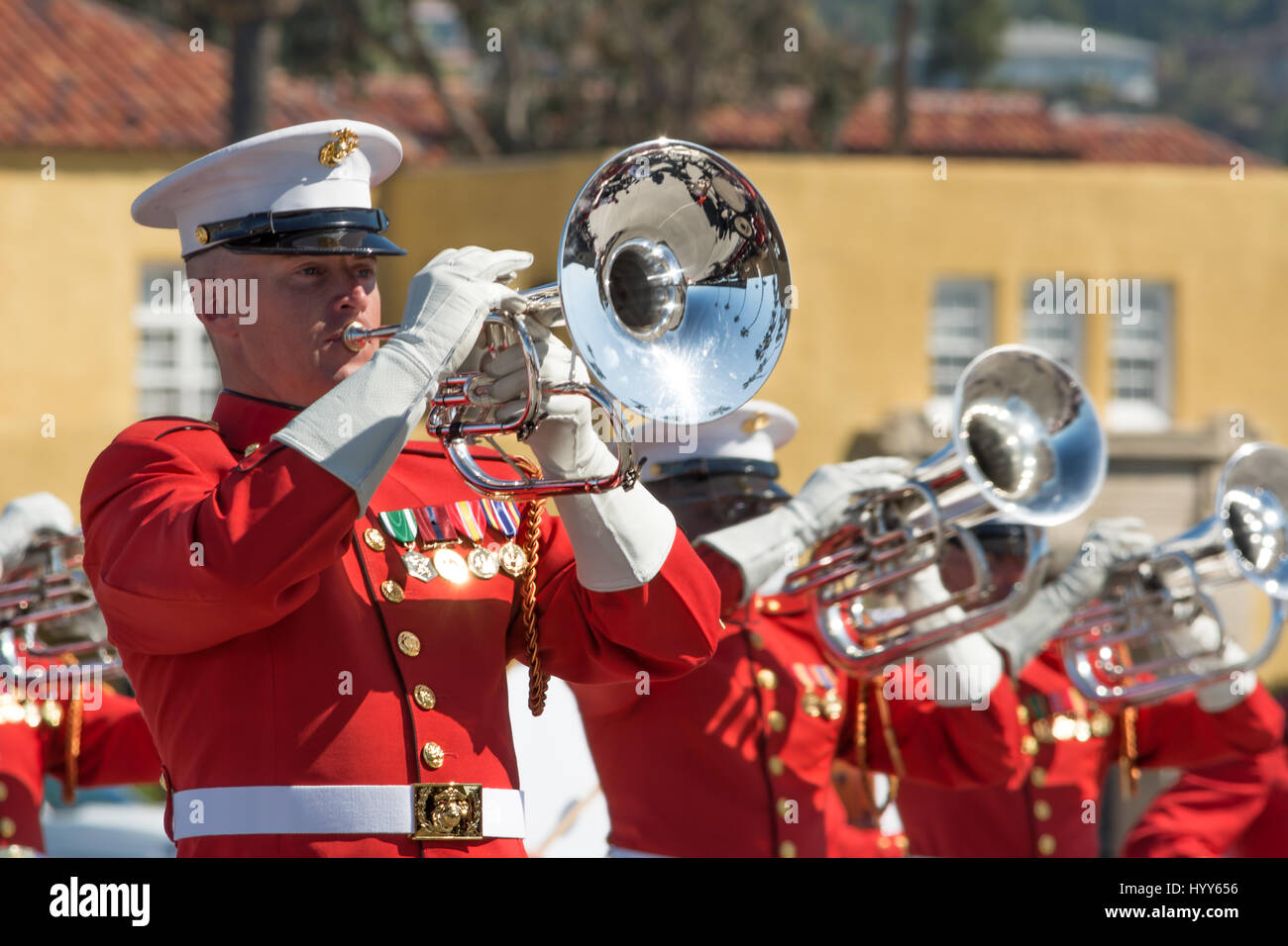 Battle Color Detachment, Marine Barracks Washington, D.C., performing at the Marine Corps Recruit Depot in San Diego, Stock Photo