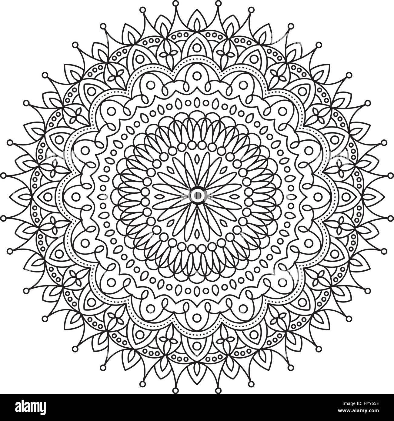 coloring book mandala circle lace ornament round ornamental