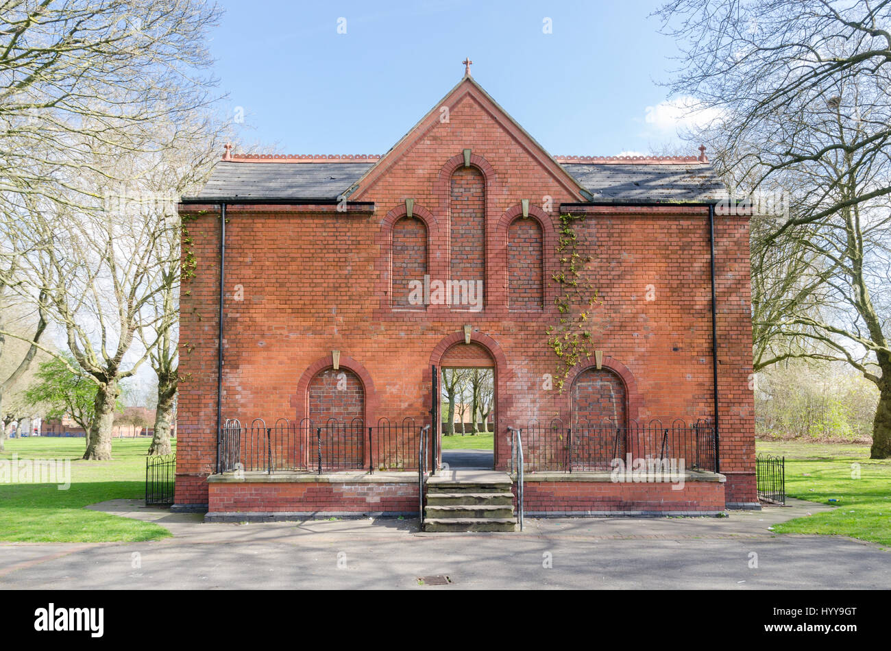 Old Victorian bandstand in Summerfield Park in Winson Green, Birmingham on a sunny spring day - Stock Image