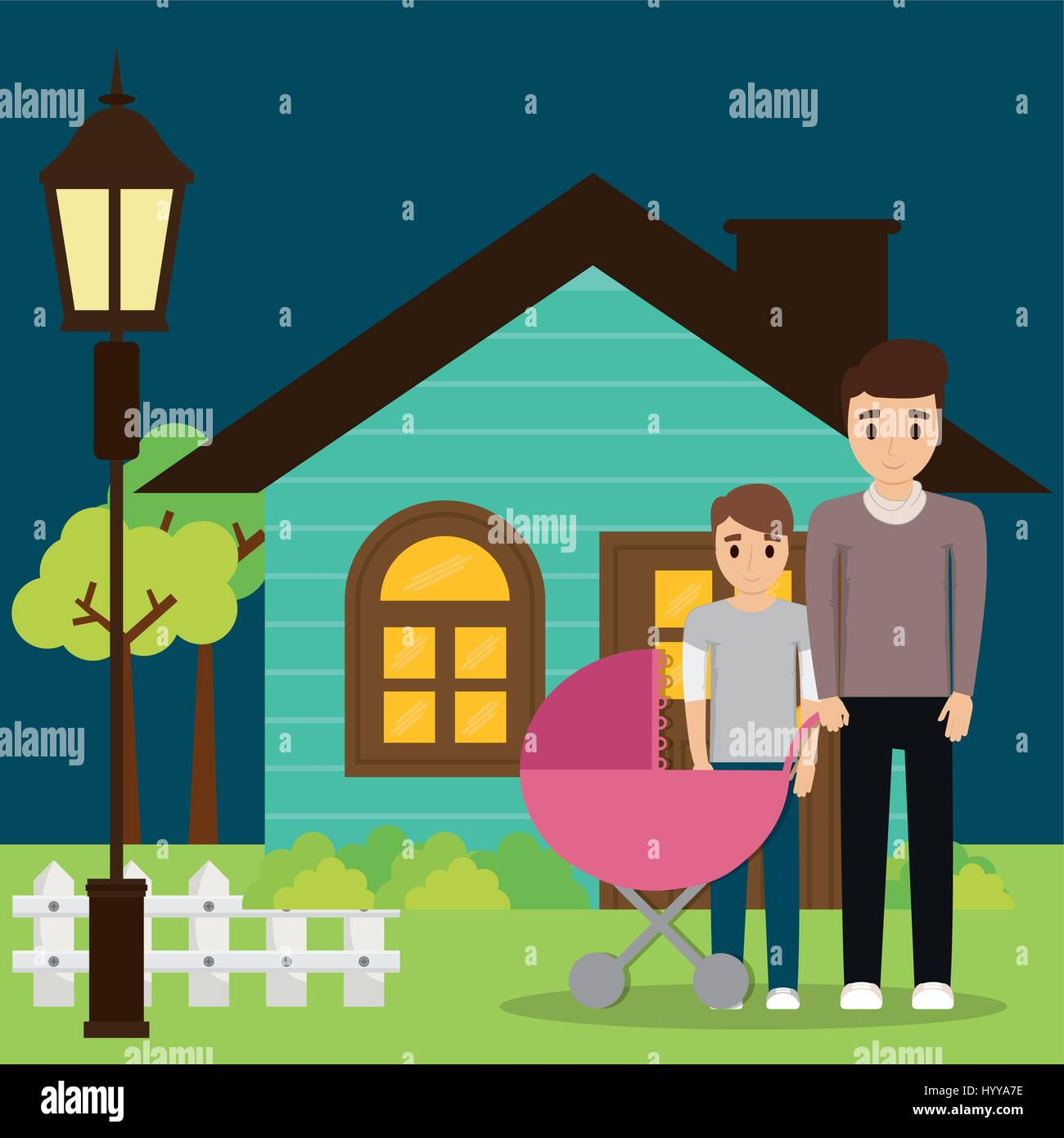 family couple young with house - Stock Vector