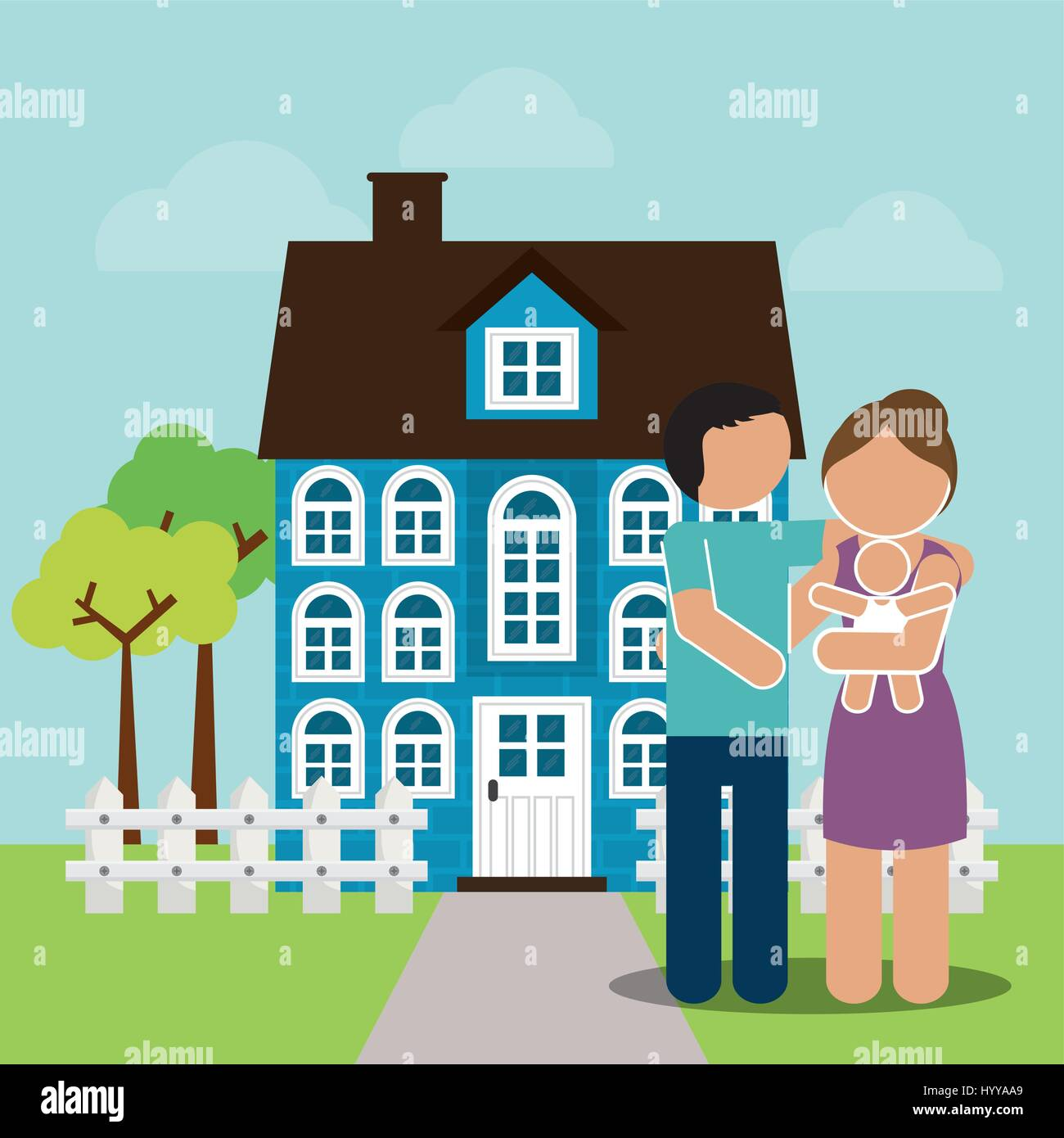 family home couple and baby image - Stock Vector