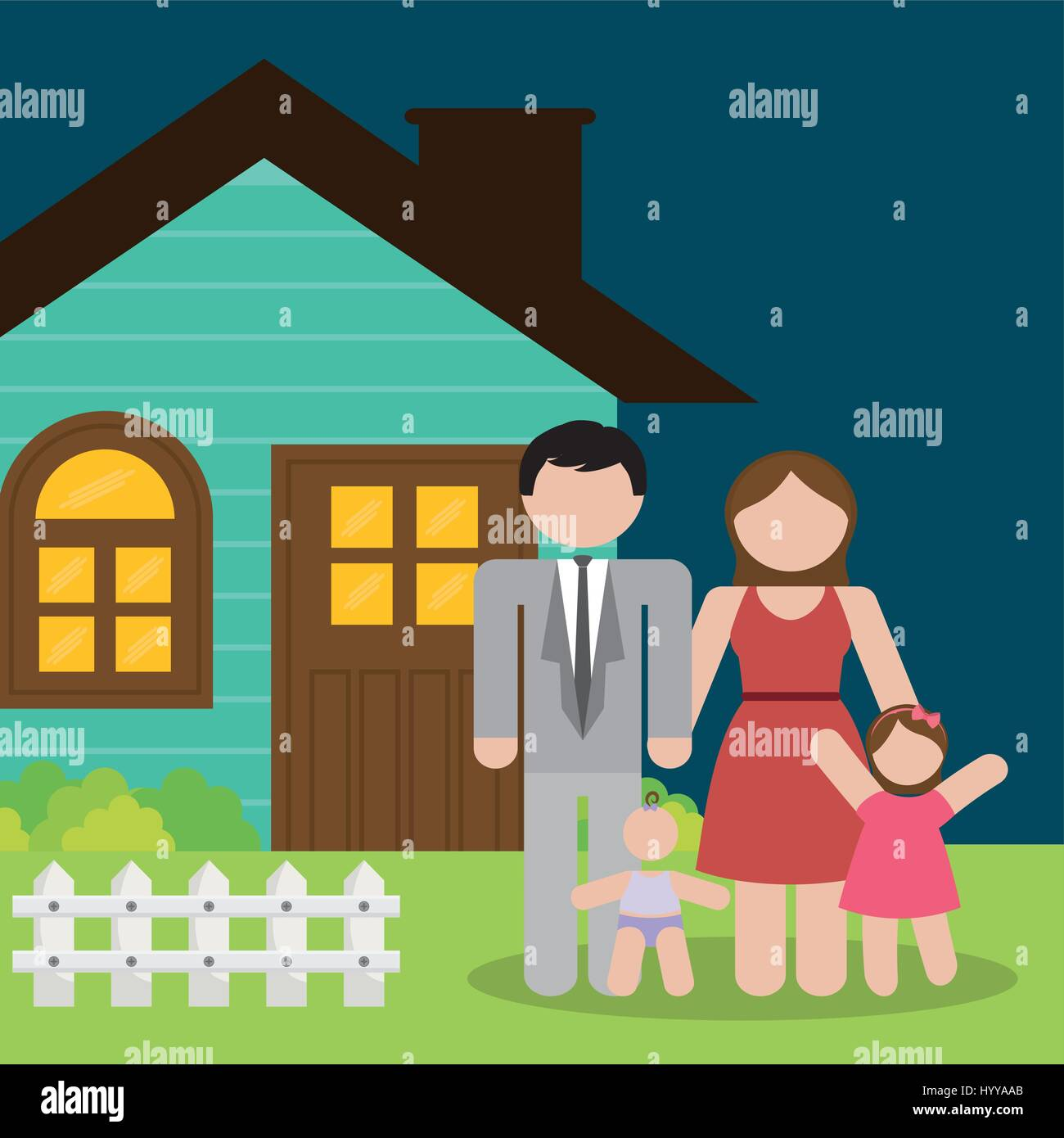 family home parents and kids - Stock Vector