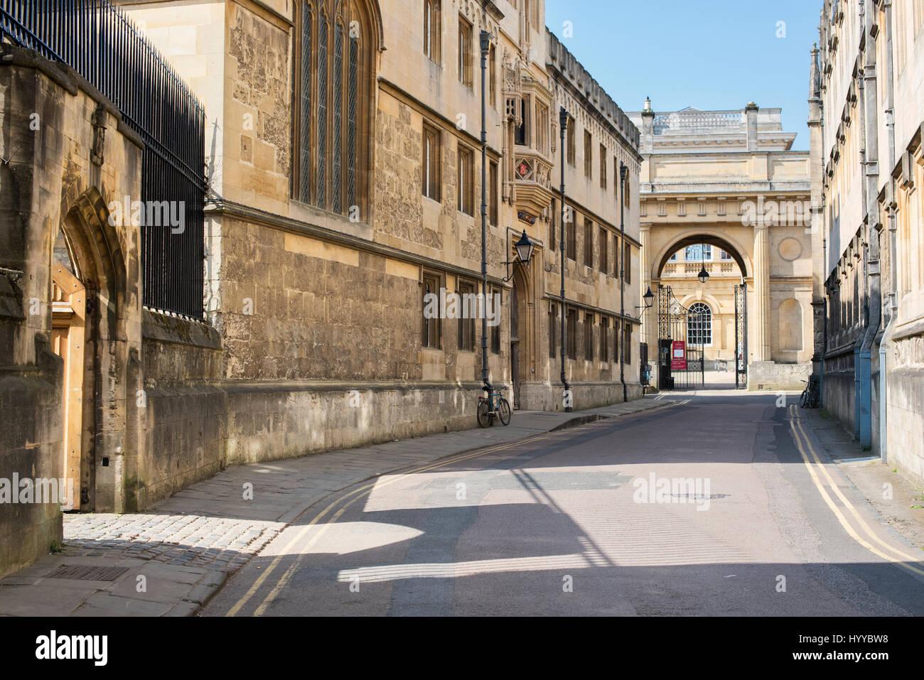 Merton Street showing Corpus Christi College. Oxford, Oxfordshire, UK - Stock Image