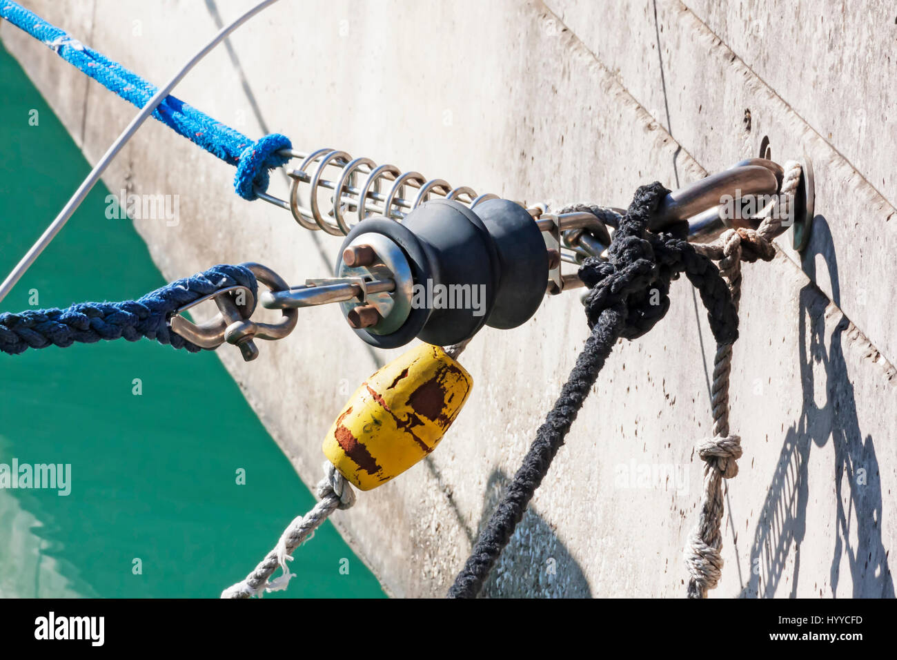 Mooring detail in the port - Stock Image