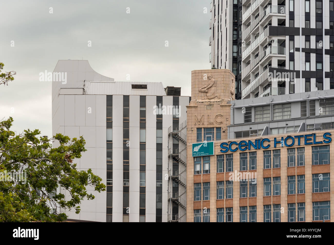 Auckland, New Zealand - March 1, 2017: Detail of Auckland skyline around Scenic Hotels downtown near Civic Center. - Stock Image