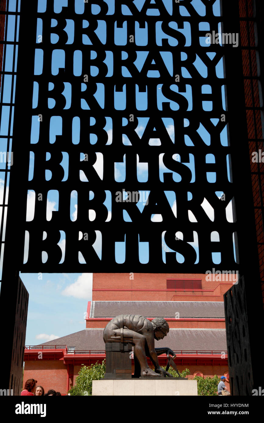 The statue of Isaac Newton by Eduardo Paolozzi in the concourse of the British Library, London - Stock Image