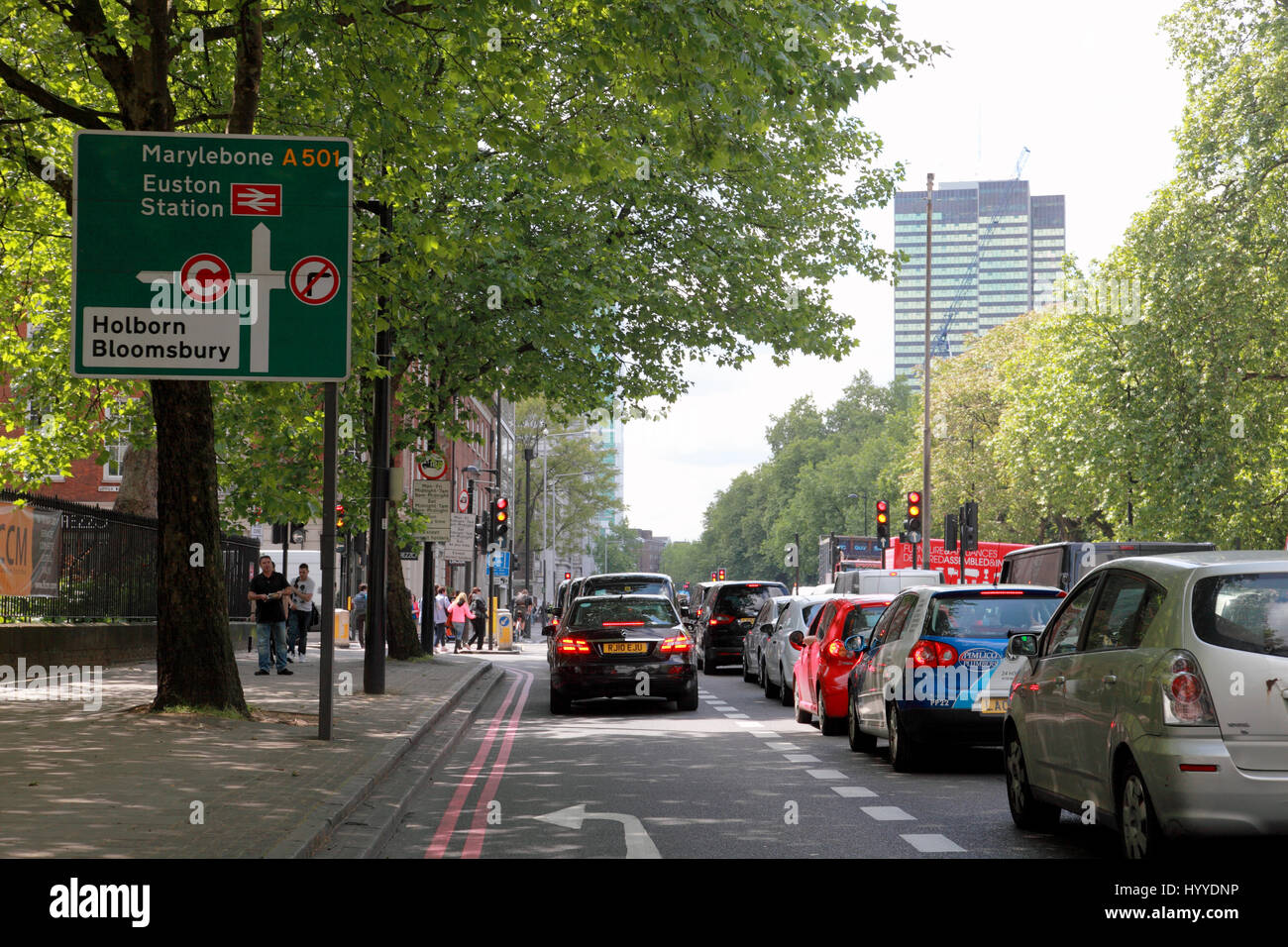 Traffic congestion on the Euston Road, near Euston station, London - Stock Image
