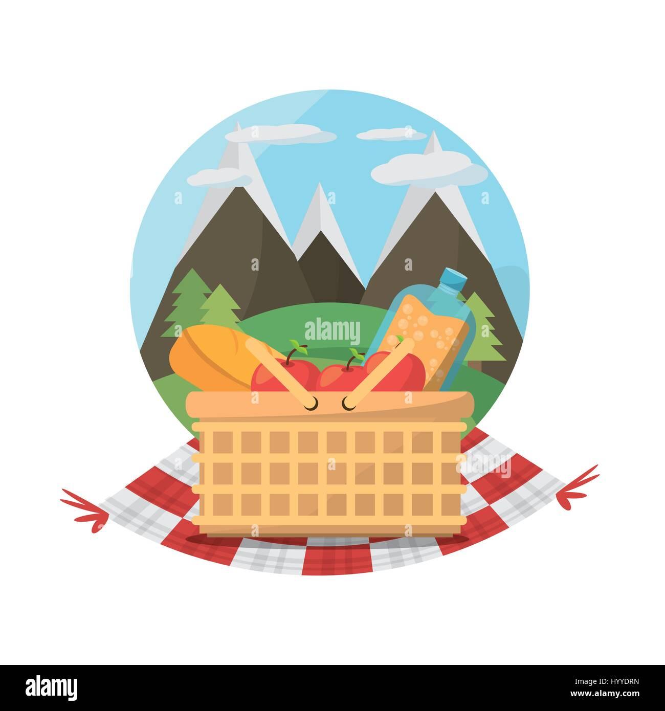 picnic basket food blanket mountains label - Stock Vector