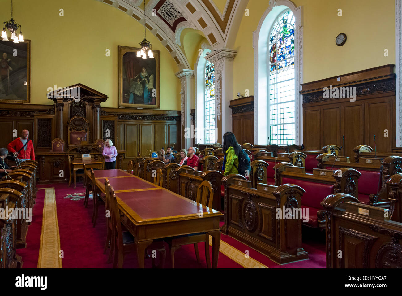 The Council Chamber, City Hall, Belfast, County Antrim, Northern Ireland, UK - Stock Image
