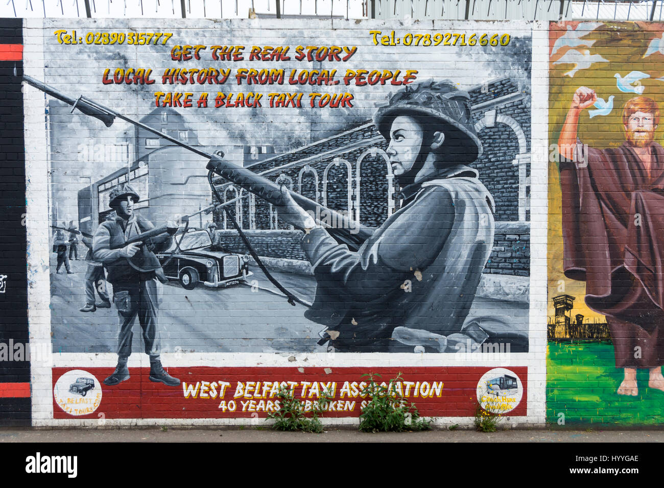 West Belfast Taxi Association wall mural on the Falls Road, Belfast, County Antrim, Northern Ireland, UK - Stock Image