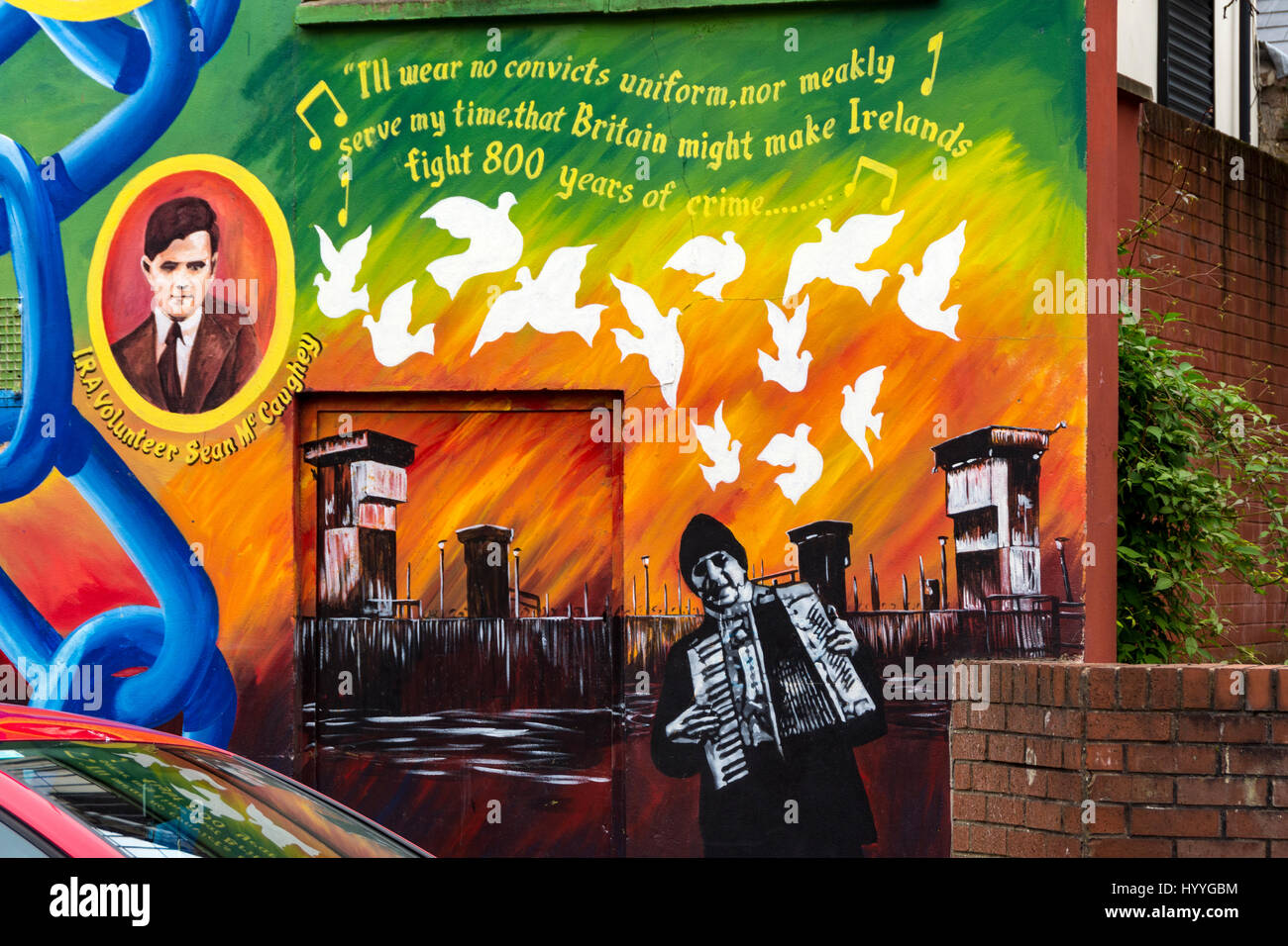 Detail from a wall mural on the side of the Sinn Féin office, Falls Road, Belfast, County Antrim, Northern - Stock Image
