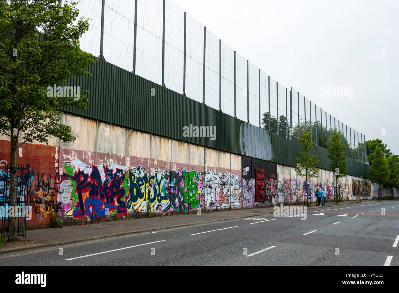 The Peace Wall, Cupar Way, Belfast, County Antrim, Northern Ireland