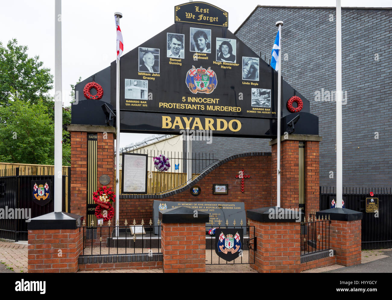 Memorial to the victims, on the site of the bombed Bayardo Bar, Shankill Road, Belfast, County Antrim, Northern - Stock Image