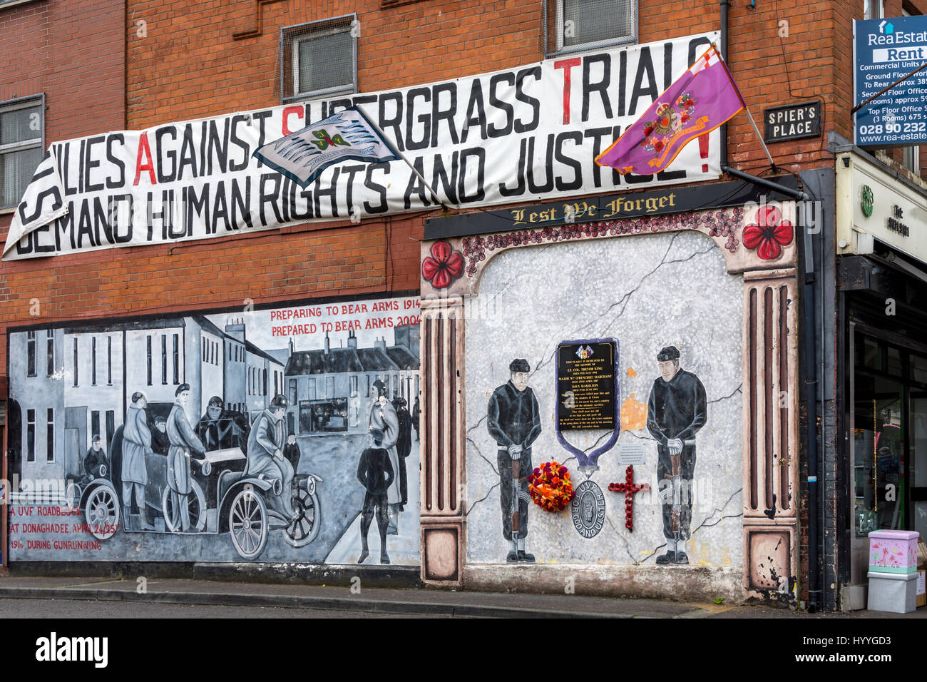 Loyalist mural at Spier's Place, off Shankill Rd., Belfast, County Antrim, Northern Ireland, UK - Stock Image