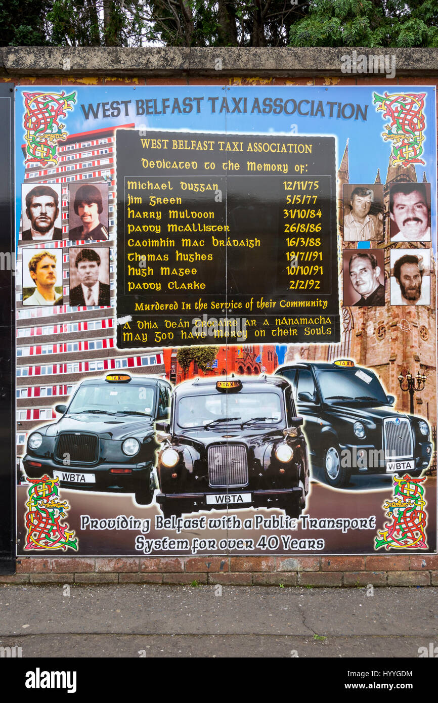 West Belfast Taxi Association wall mural on Beechmount Avenue, off the Falls Road, Belfast, County Antrim, Northern - Stock Image