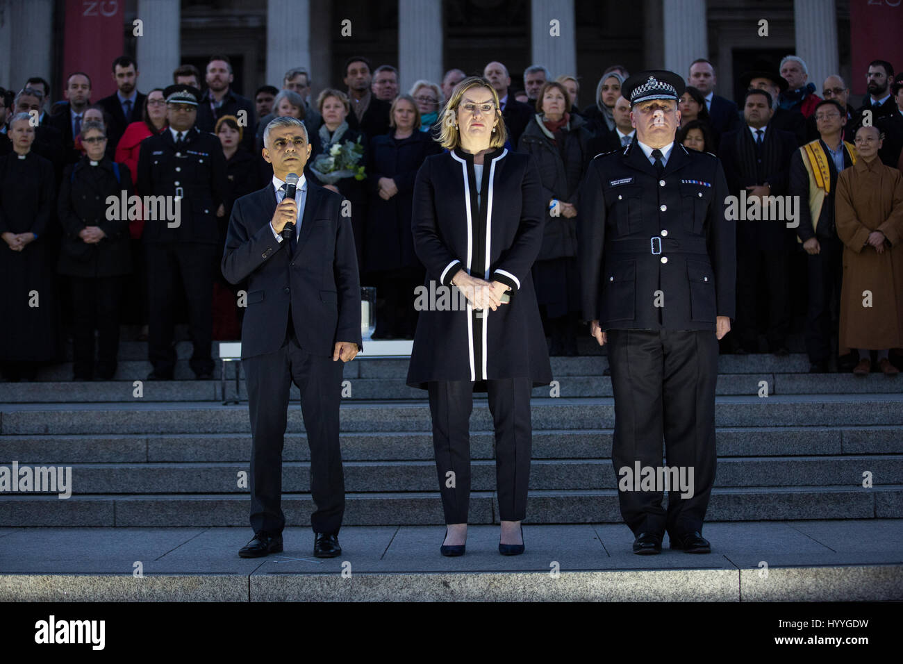 London, UK. 23rd March, 2017. Sadiq Khan, Mayor of London, addresses the vigil in Trafalgar Square for victims of - Stock Image