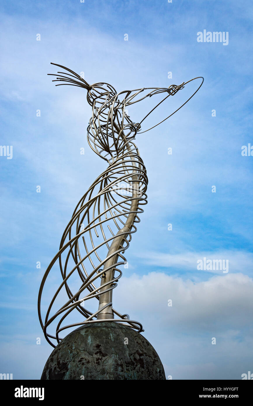 'Beacon of Hope', a sculpture by Andy Scott, Thanksgiving Square, Belfast, County Antrim, Northern Ireland, - Stock Image