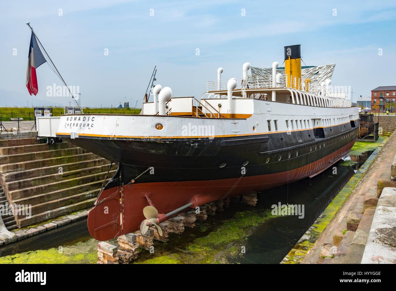 The SS Nomadic, a former tender of the White Star Line (launched 1911), Titanic Quarter, Belfast, County Antrim, - Stock Image