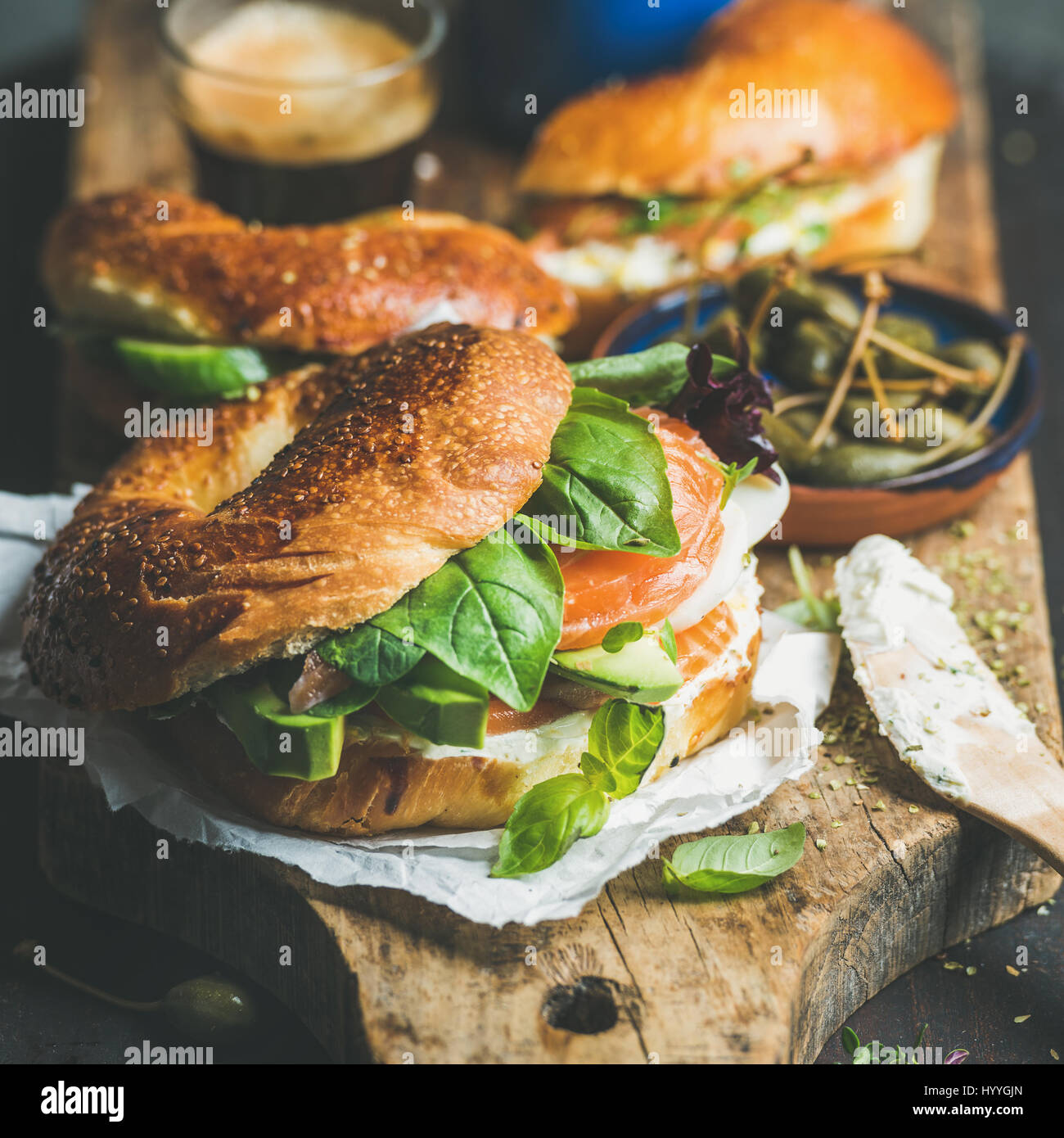 Healthy breakfast with bagels and espresso coffee - Stock Image