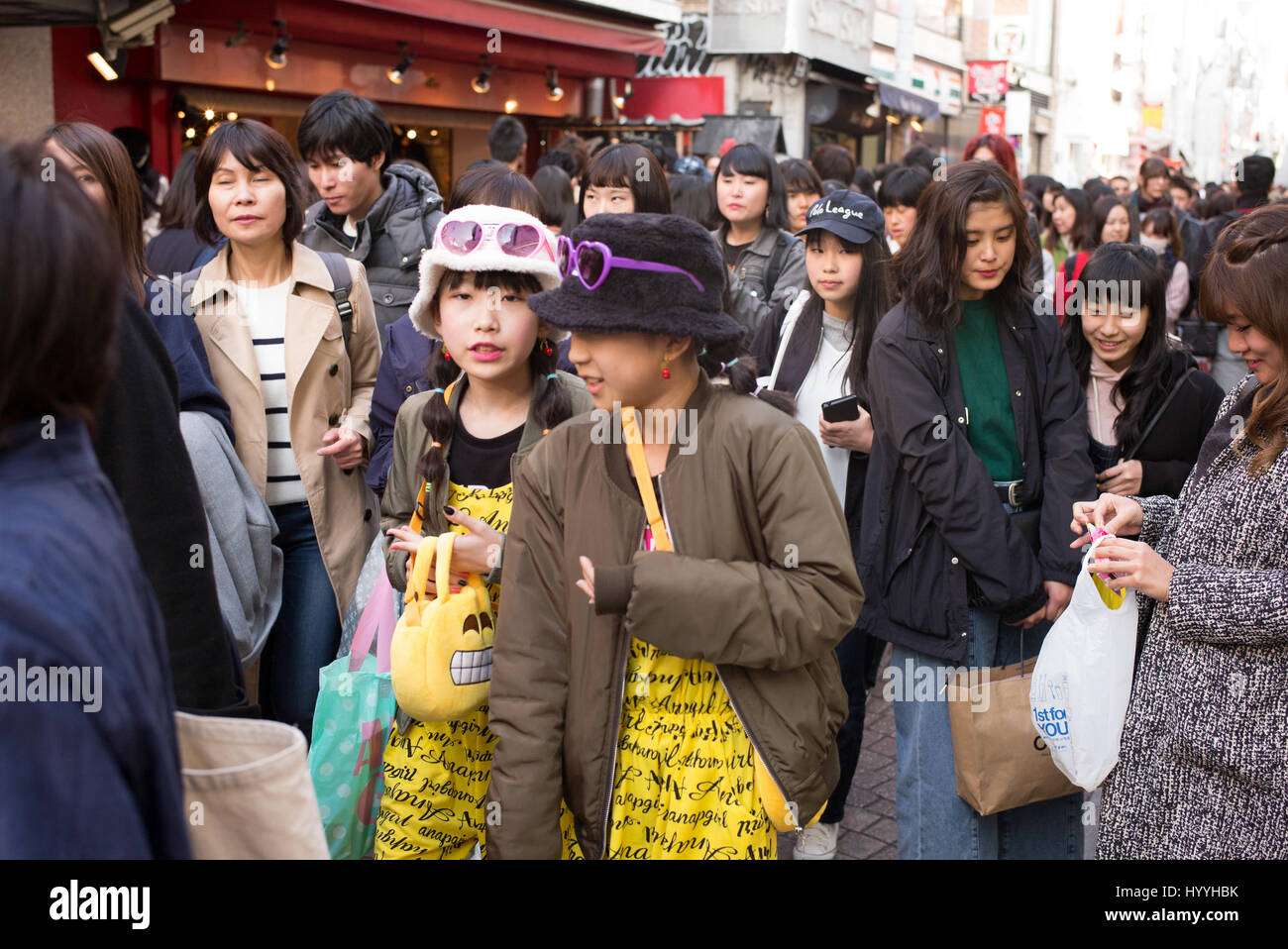Takeshita Street in Harajuku, Tokyo is a popular area for fashion and youth culture - Stock Image
