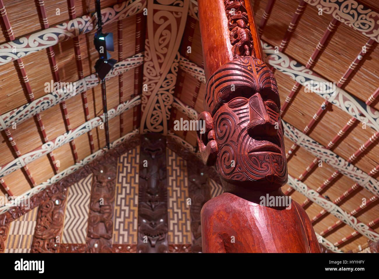 National Maori meeting house with carvings - Waitangi, Northland, New Zealand Stock Photo