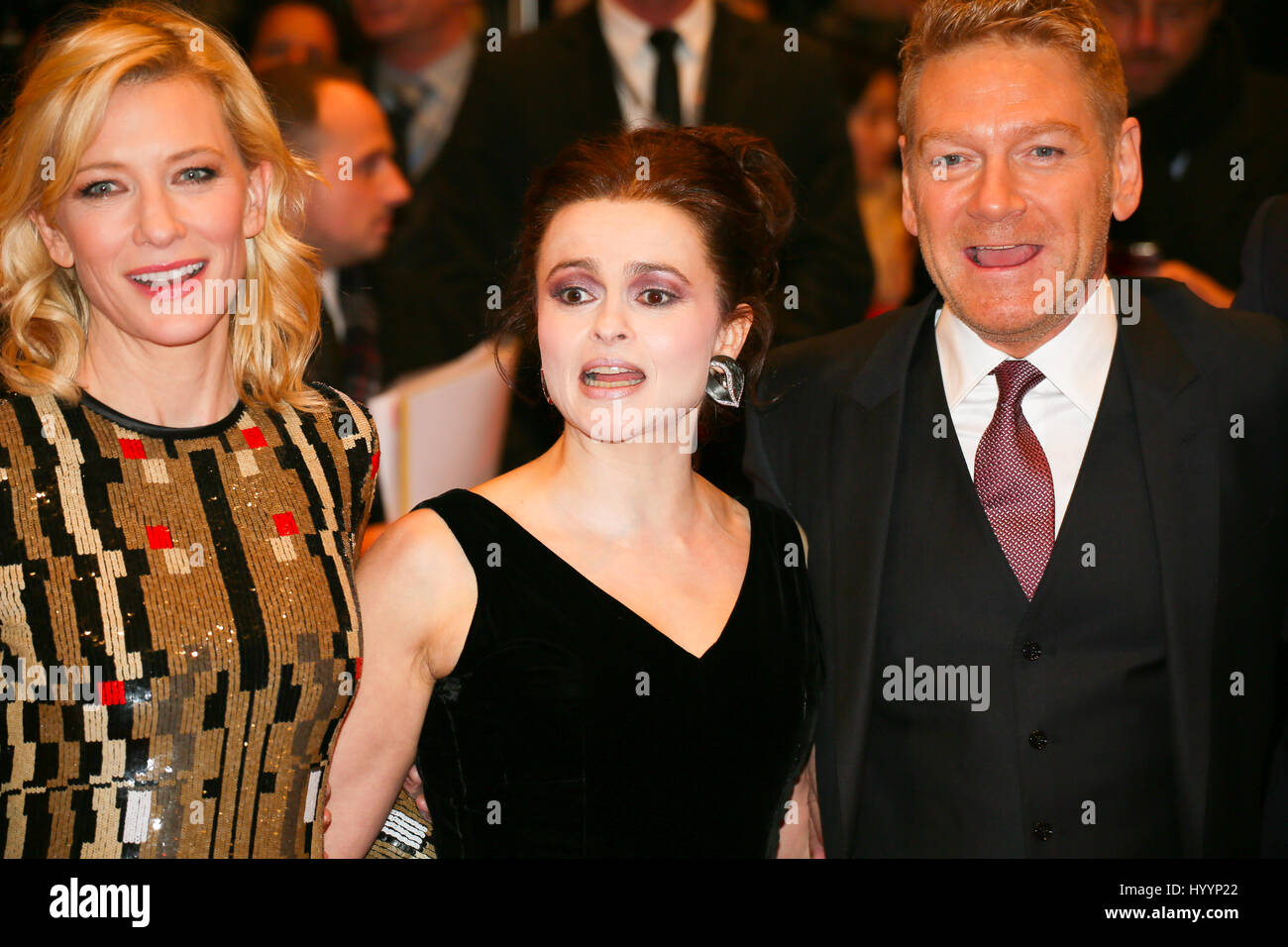 Berlin, Germany, February 13th, 2015: Cate Blanchett, Helena Bonham Carter, Kenneth Branagh at premiere of Cinderella - Stock Image