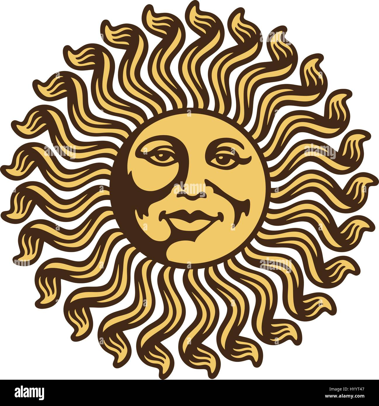 Tribal Aztec Sun. Vector Illustration. - Stock Vector