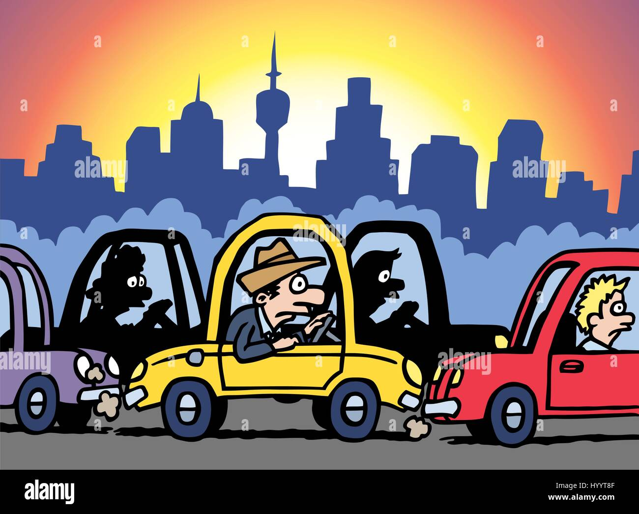 Traffic Jam Man Stuck In Car Vector Illustration Stock Vector Image Art Alamy