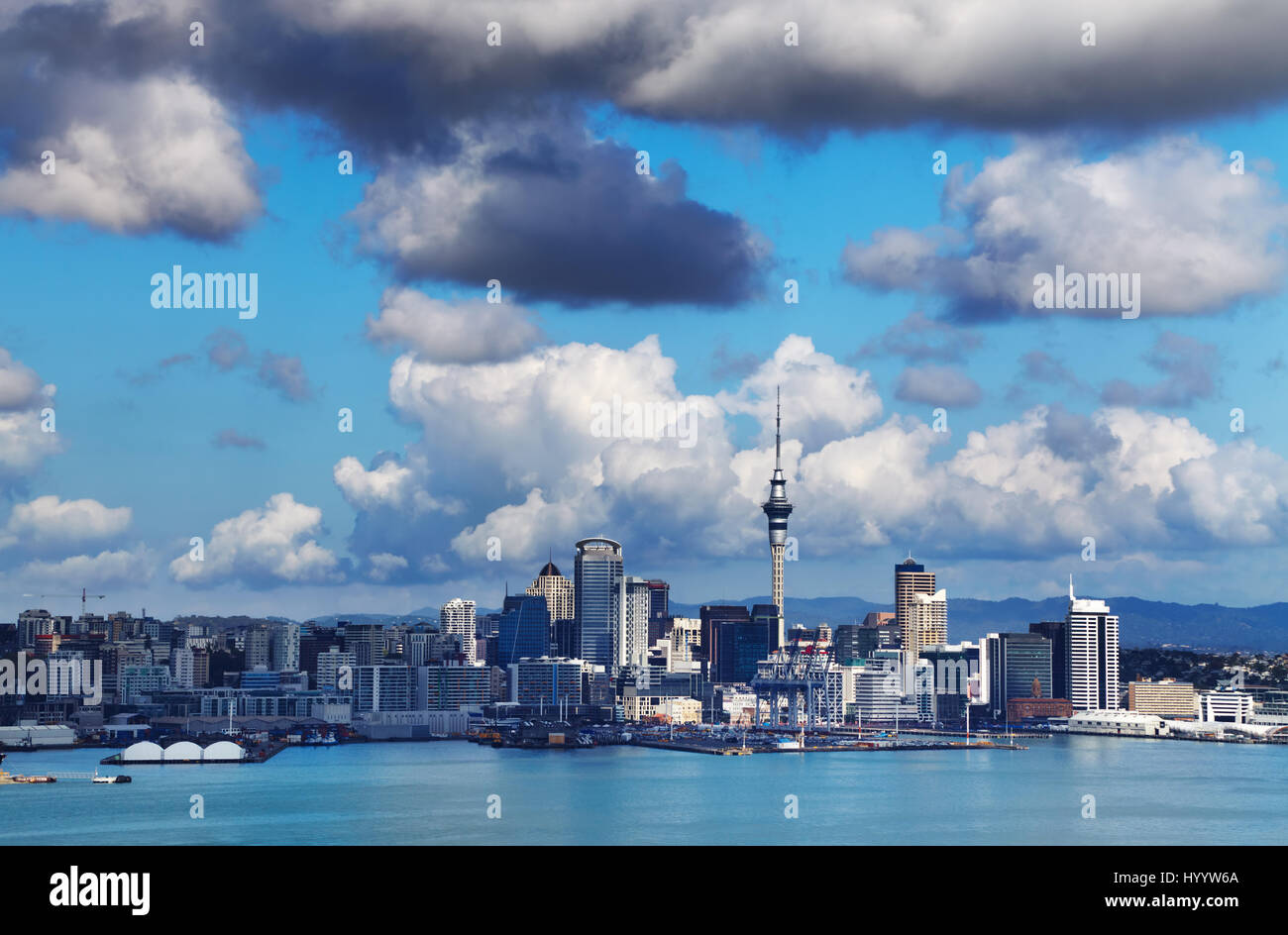 Auckland is largest city of New Zealand, view from Mount Victoria, Devonport Stock Photo