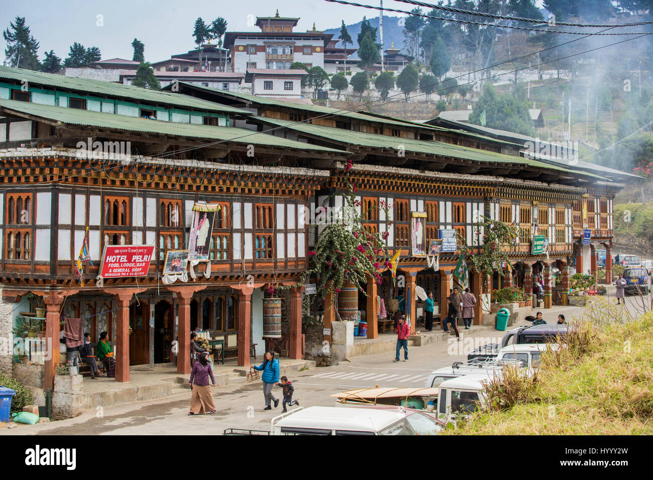 Eastern Bhutan, Mongar, early morning in town centre - Stock Image