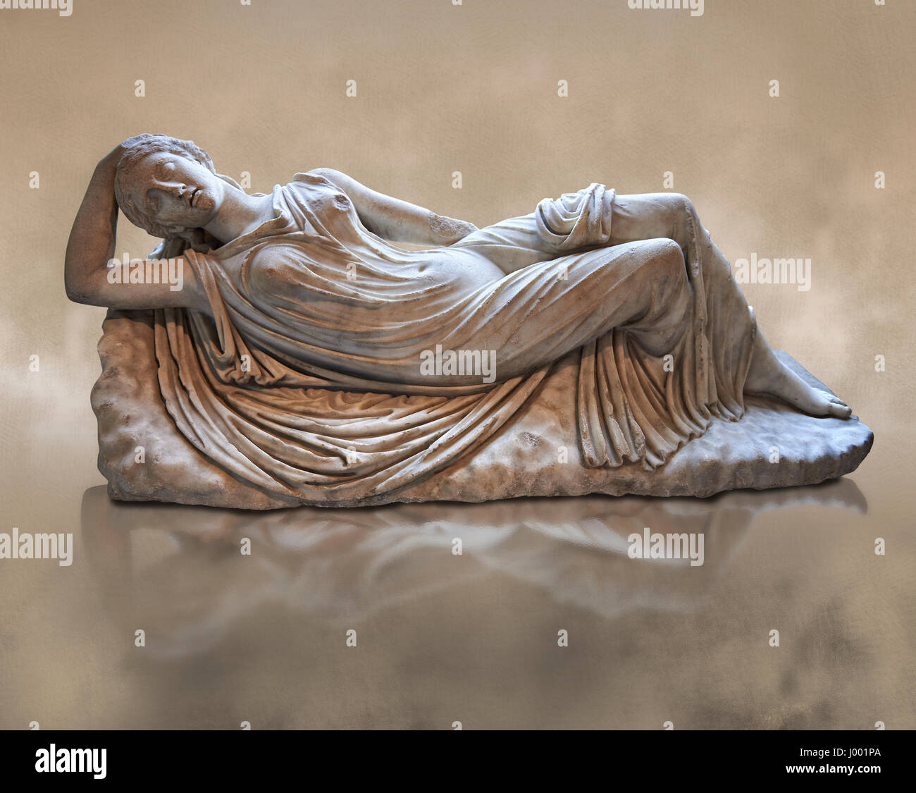 Ariadne sleeping, 2nd cent AD Marble Roman statue from Italy.  inv MR 311or Ma 340, Louvre Museum Paris Stock Photo