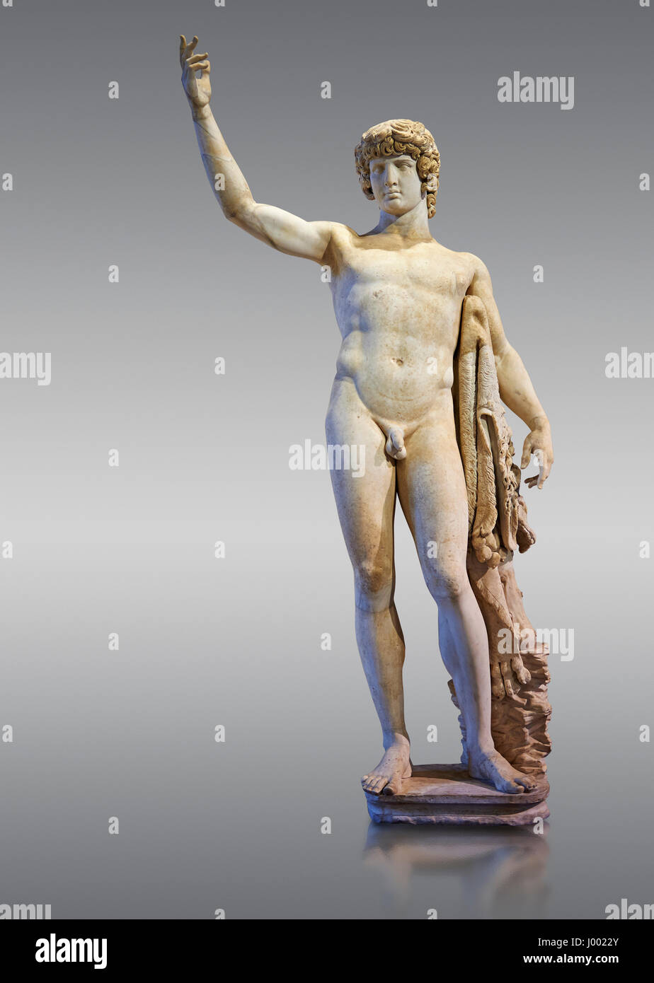 2nd cent AD Roman statue of Antinous, Inv No. MR 74 (Usual No Ma 2243), Louvre Museum, Paris. - Stock Image