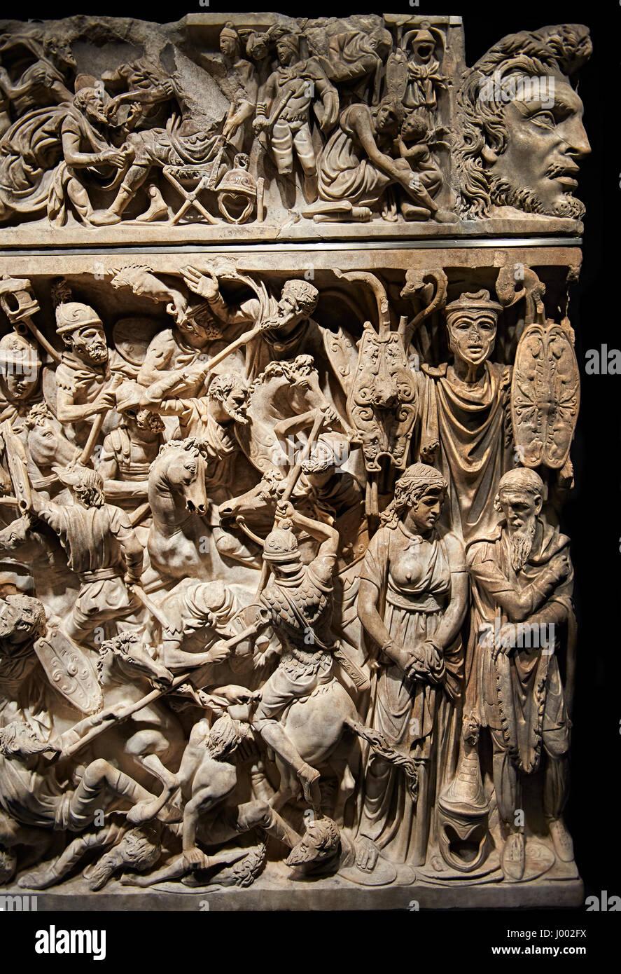 Roman Sarcophagus of Aurelius Julius Pompilius with detailed relief sculptured panels with battle scenes. National - Stock Image