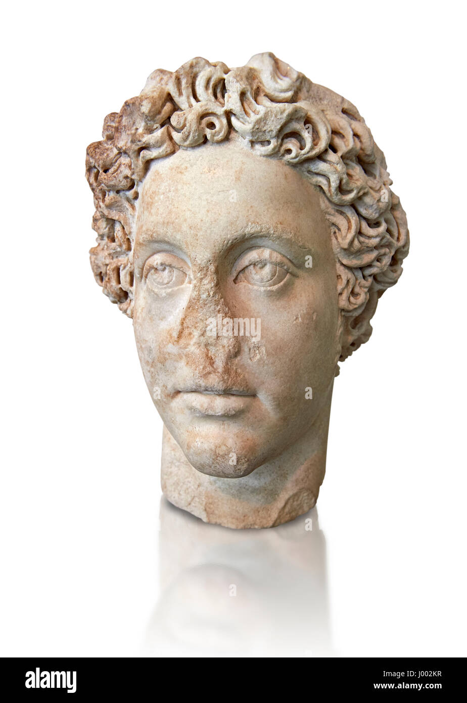 Roman Portrait bust of Roman Emperor Commodus, circa 180 AD excavated from the ancient market, Rome. The National - Stock Image