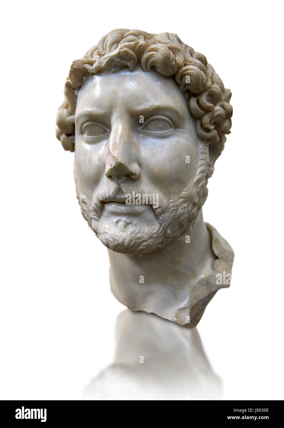 Roman portrait bust of Emperor Hadrian, 117-138 AD excavated from the S. Barbiana region near the Station Terminus, - Stock Image
