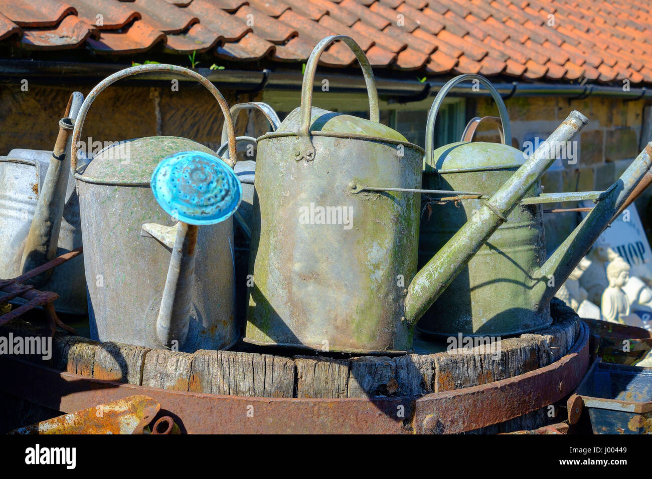 Three old fashioned galvanised steel watering cans for sale in an Antique business in North Yorkshire - Stock Image