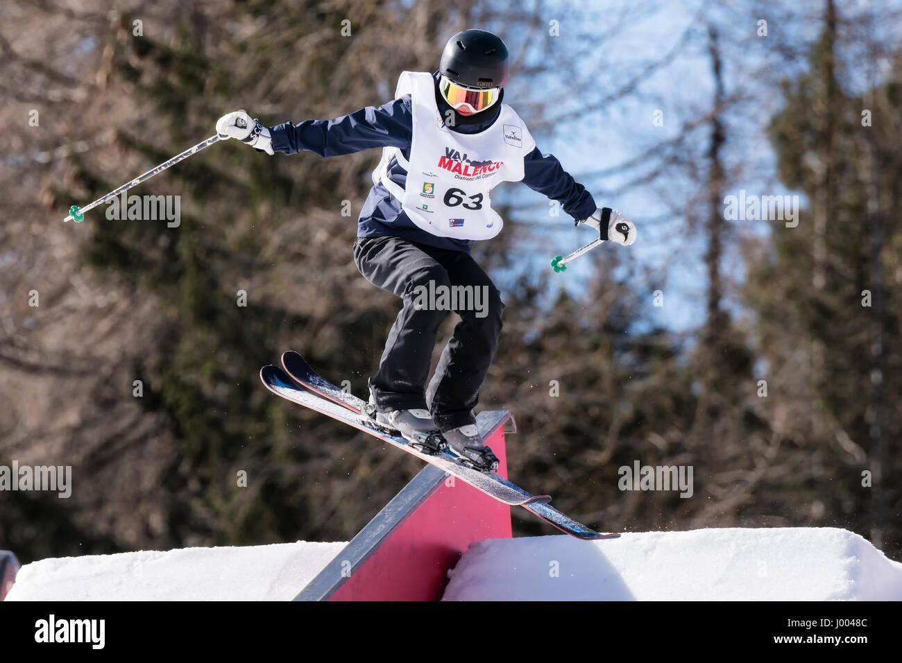 CHIESA VALMALENCO, ITALY - APRIL 6, 2017: Freestyle Ski FIS Junior World Chanpionship, athlete in slopestyle - Stock Image