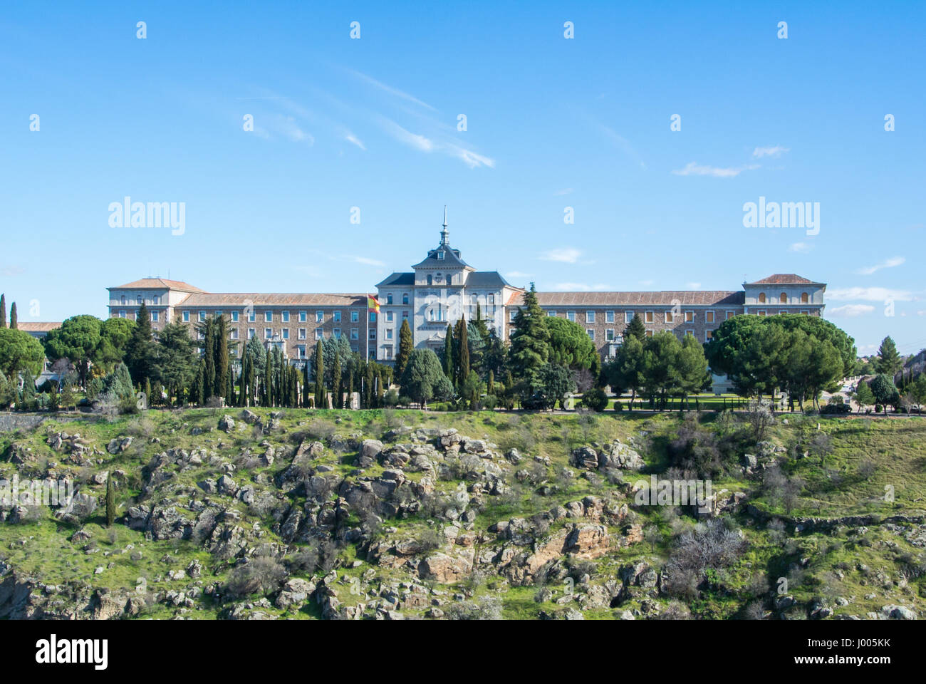 A panoramic view of Infantry Academy (Academia de Infanteria) on winter cold sunny day at Toledo, Castille La Mancha, - Stock Image