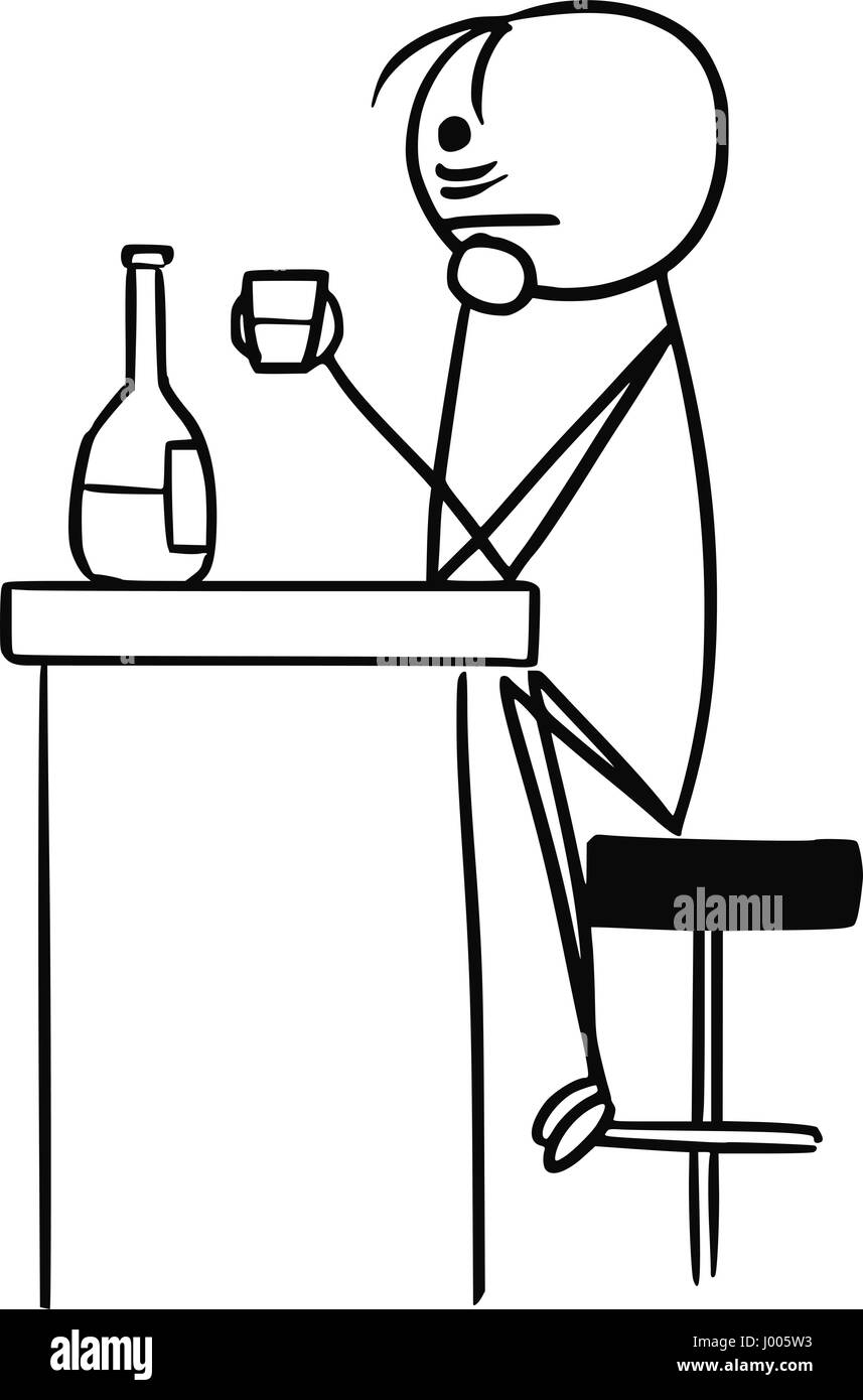 Cartoon vector stick man sad men in depression is drinking sitting in the bar alone with half empty bottle - Stock Image