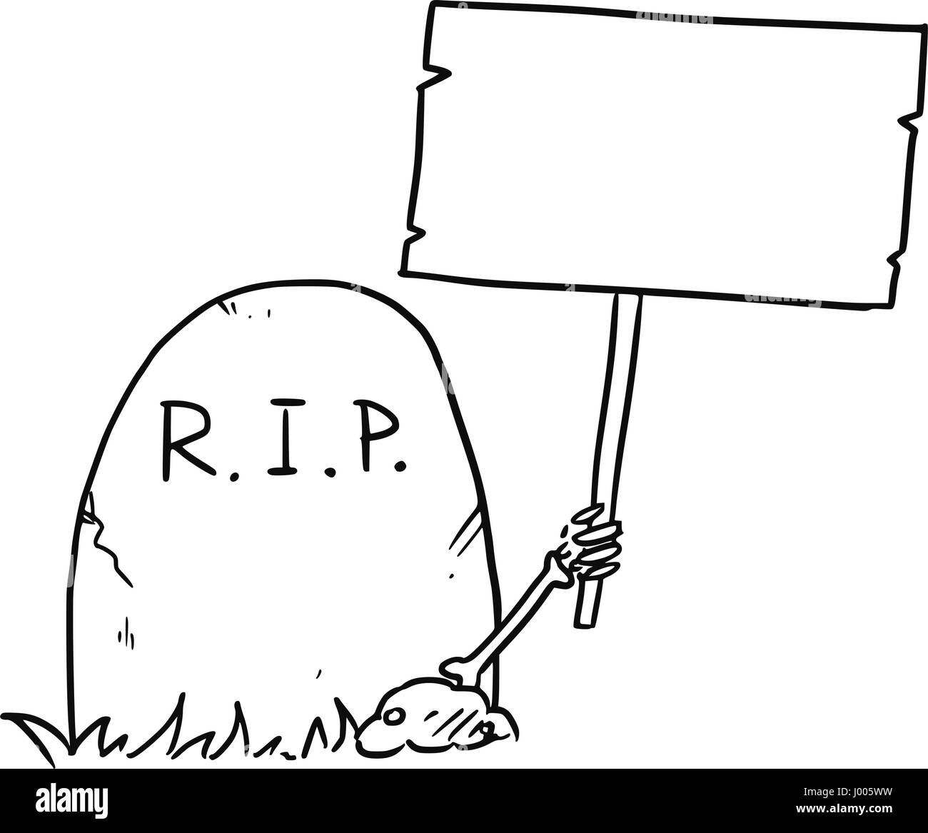 Cartoon vector arm of the dead skeleton is sticking out of the grave tombstone holding empty sign - Stock Vector