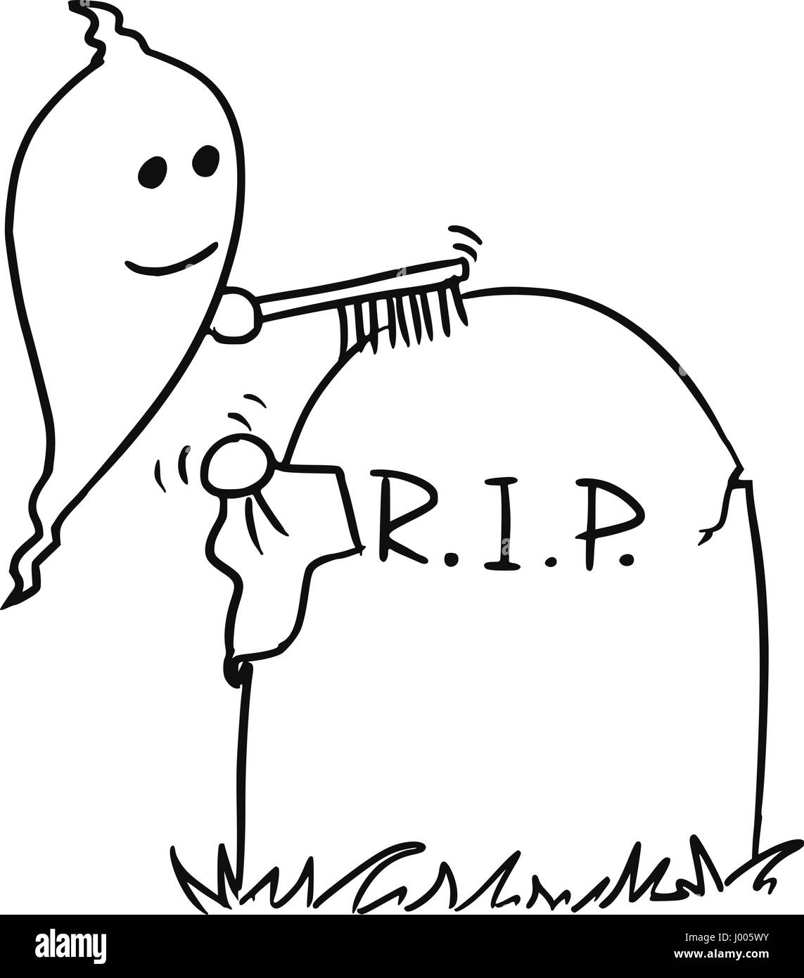 Cartoon vector small ghost is cleaning up the tombstone with brush and cloth - Stock Vector