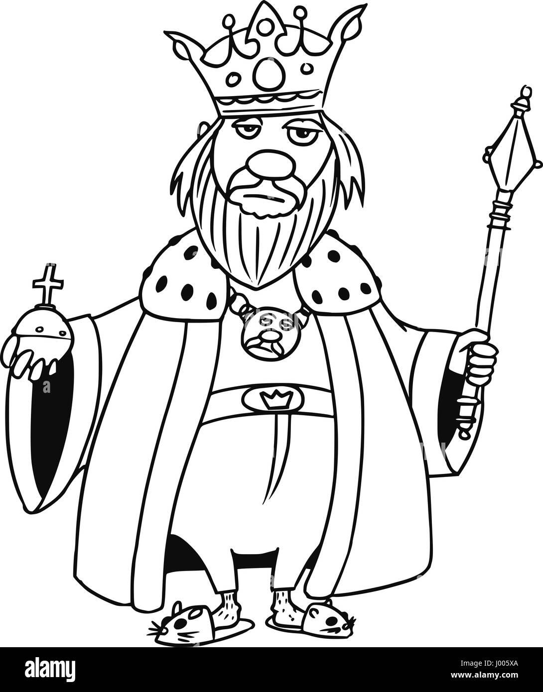 Cartoon Vector Old Fantasy Medieval King Monarch Sovereign