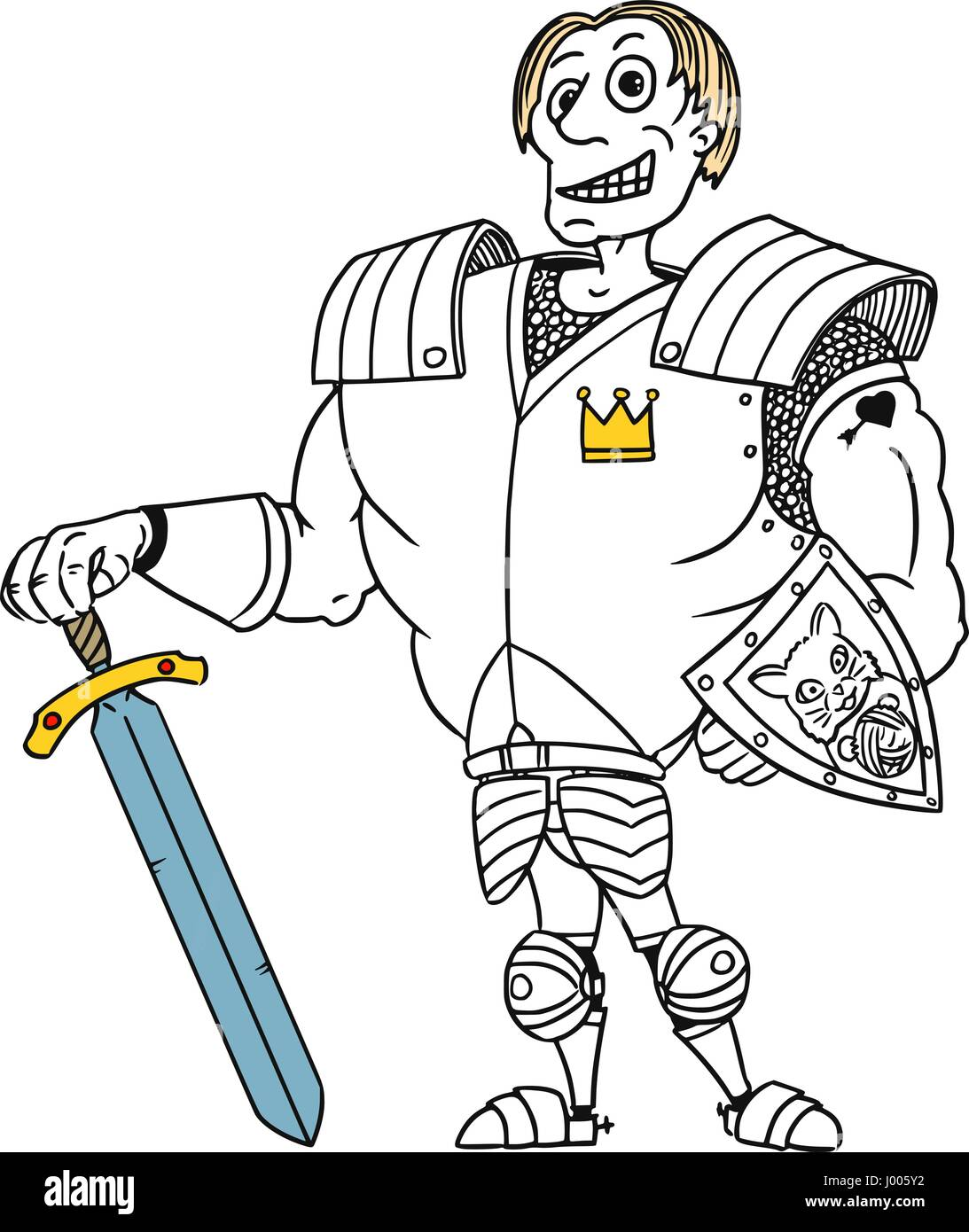 Cartoon vector old fantasy medieval royal Prince Charming knight hero with armor, sword, shield and smile - Stock Vector