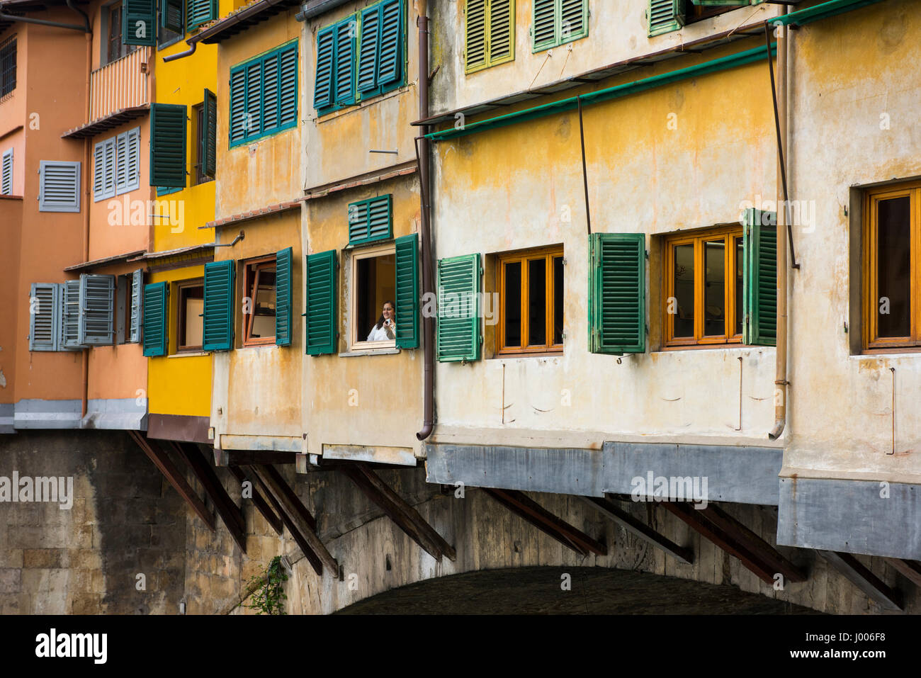 Photo  opportunity  on  Florence's  Ponte  Vecchio,  April  2017 - Stock Image