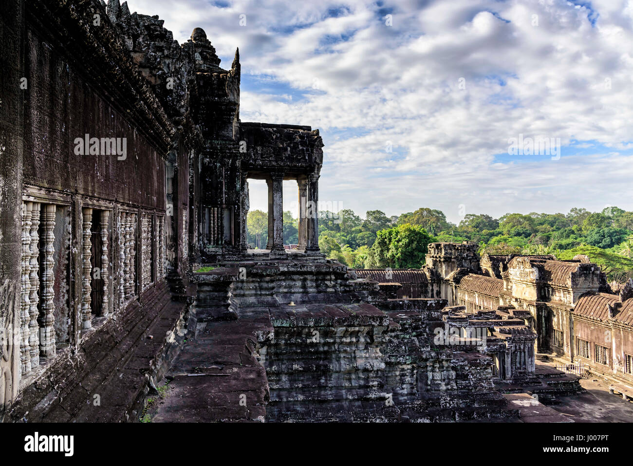 Angkor Wat terrace. This is a temple complex in Cambodia and the largest religious monument in the world originally - Stock Image