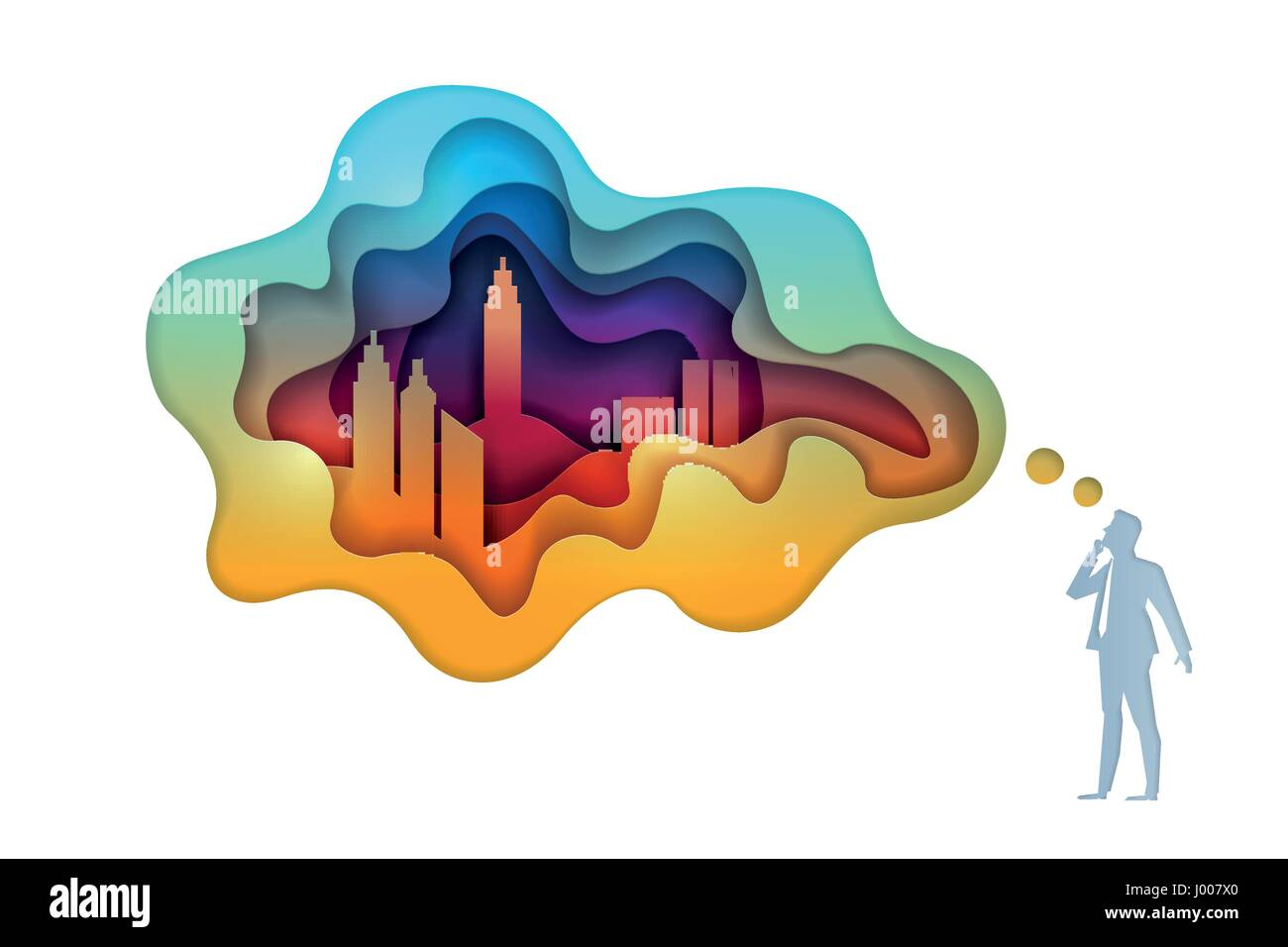 Business concept illustration. Businessman is thinking about city and real estate investment. Paper art style vector - Stock Vector