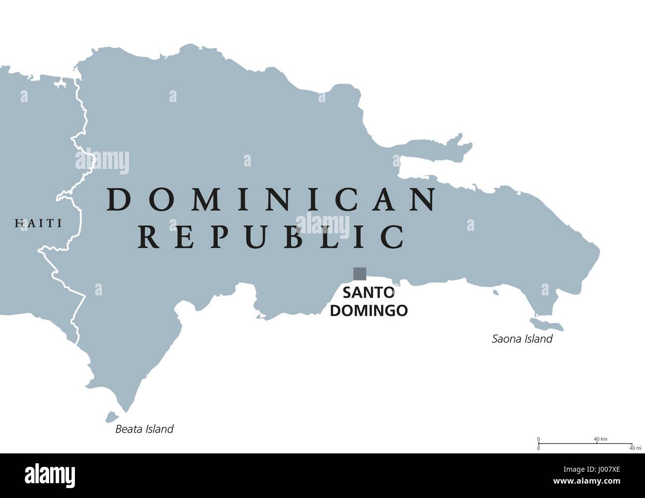 Dominican Republic Political Map With Capital Santo Domingo Stock